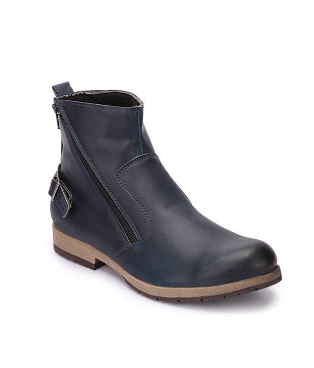 Wave Walk Bluesynthetic Leather Party Wear Boots