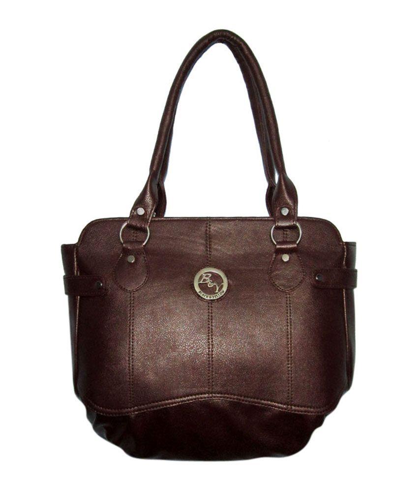 Black&yellow Dazzil Brown Handbag
