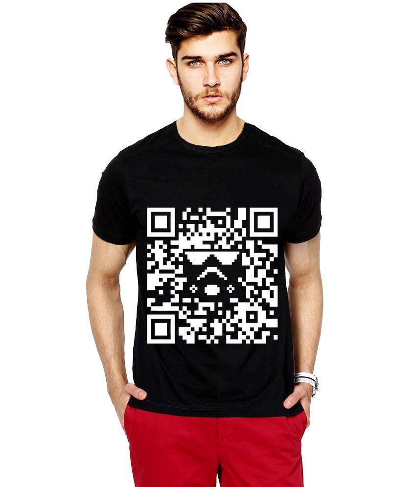 Ilyk Qr Code Men Black Printed T-shirt