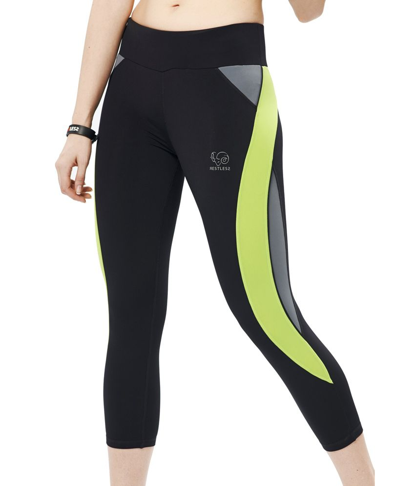 Restless Black/Mint Capri (Breathable Fabric )