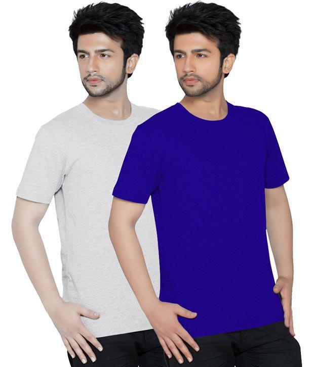 Texfit Royal Blue & Ecru Melange Round Neck Men's T-shirt - Pack Of 2