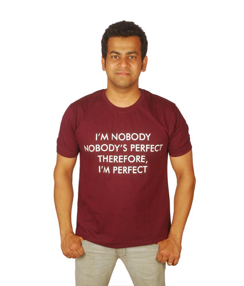 Nobody Perfect Maroon Cotton Tshirt