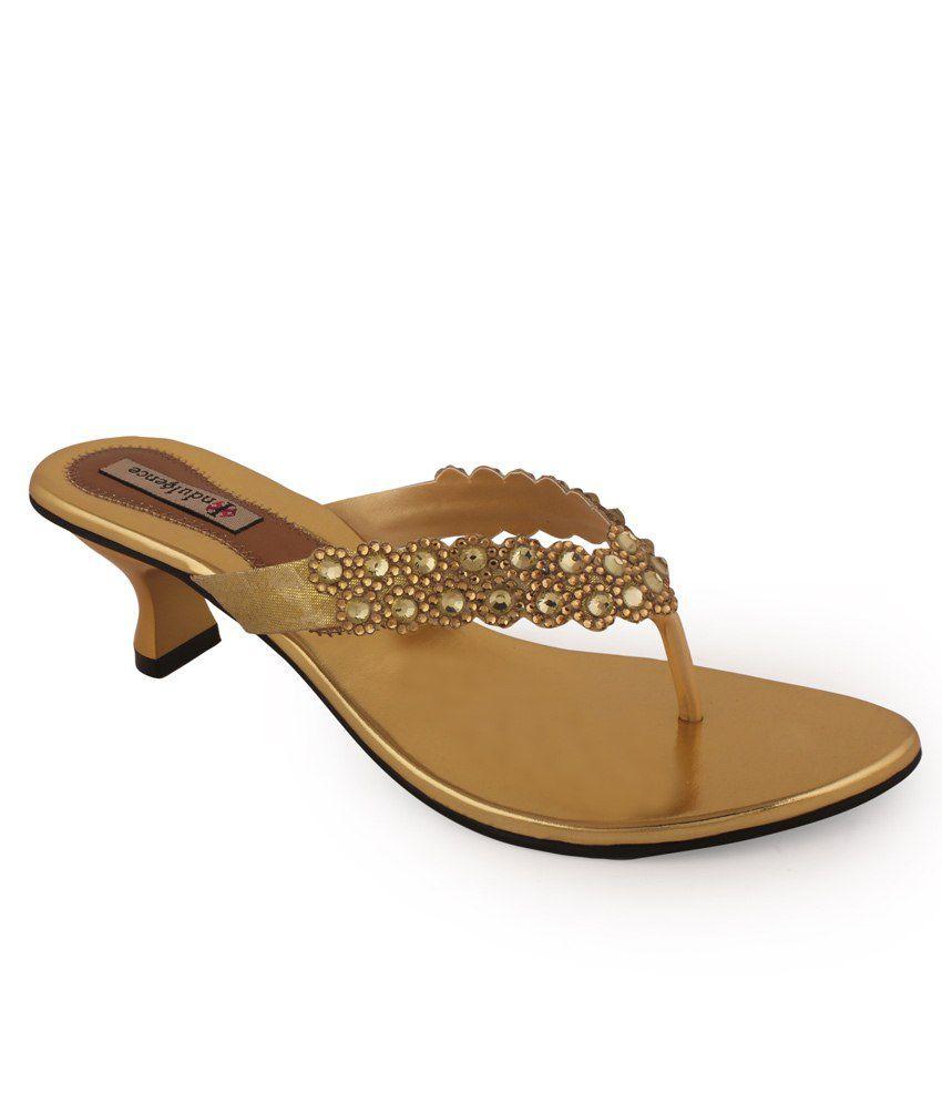Indulgence Ethnic Block Heeled Sandals Gold