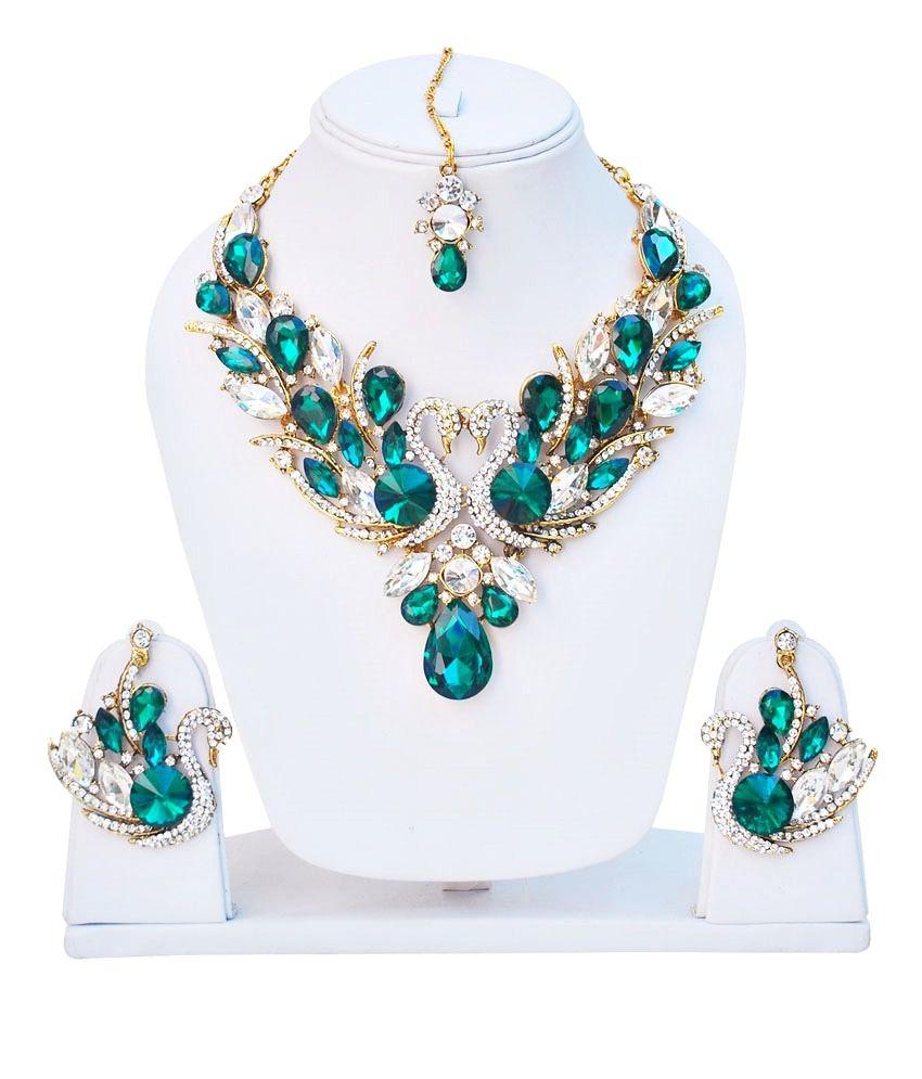 Lucky Jewellery Peacock Rama-green Set