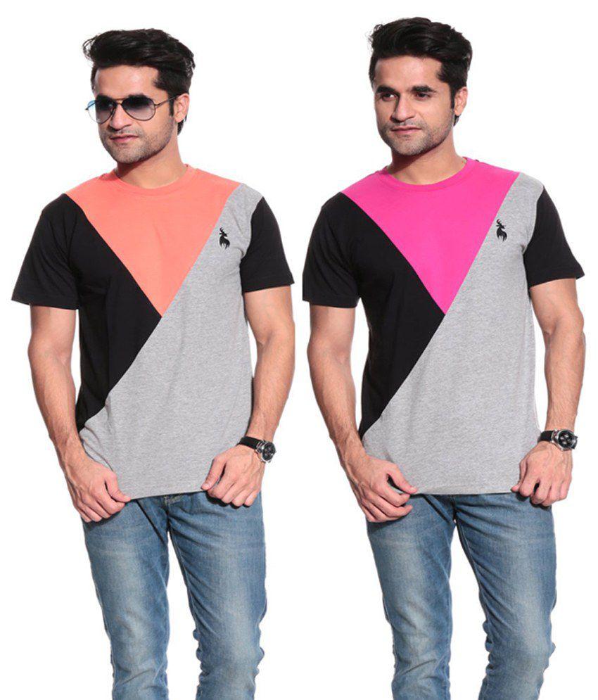 Posh 7 Orange And Fushia Cotton T Shirt - Combo Of 2