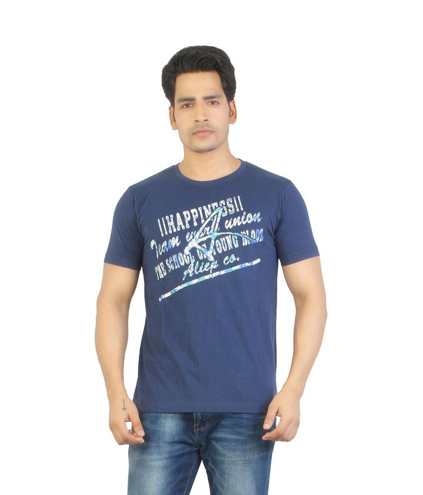 Aliep Stylish Navy Printed Half Sleeves T-shirt For Men