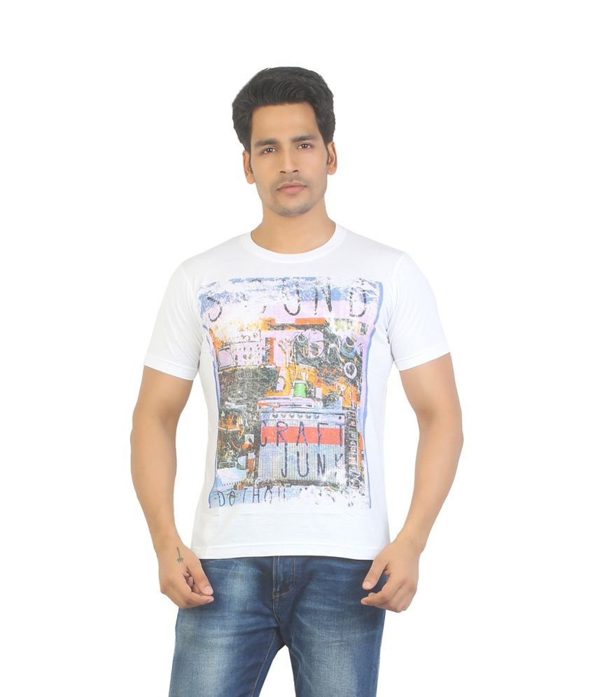 Aliep Stylish White Printed Half Sleeves T-shirt For Men