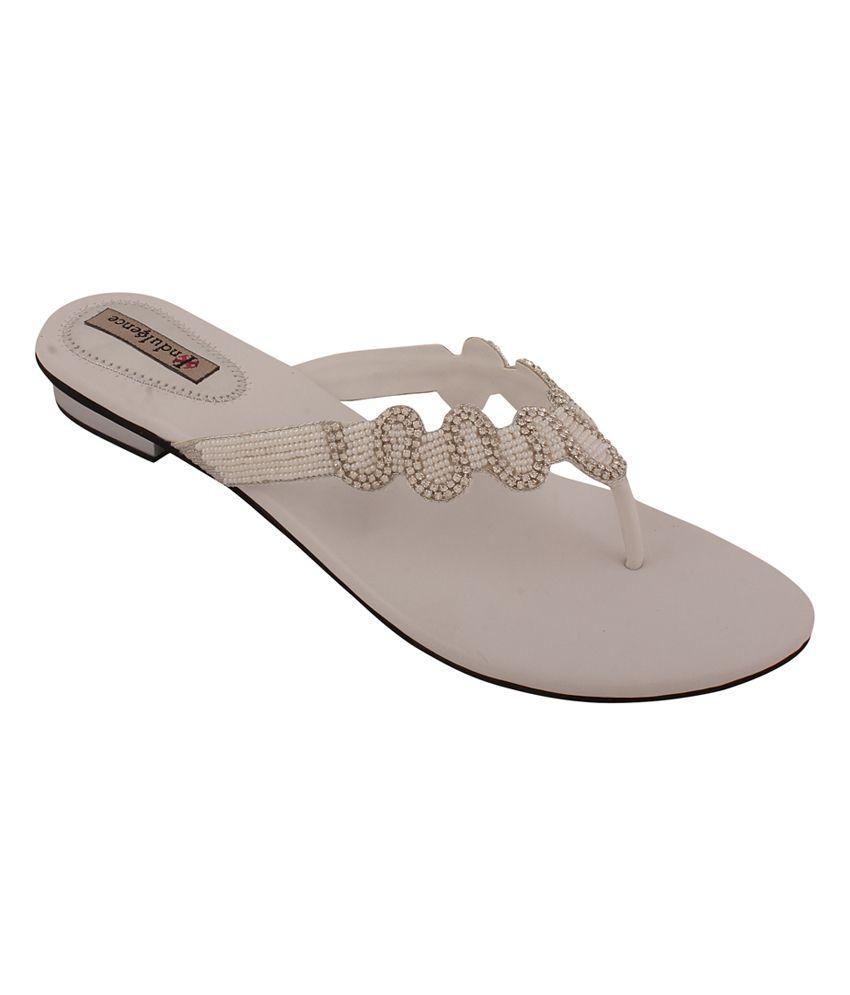 Indulgence White Low Heel Kolhapuri Ethnic Footwear