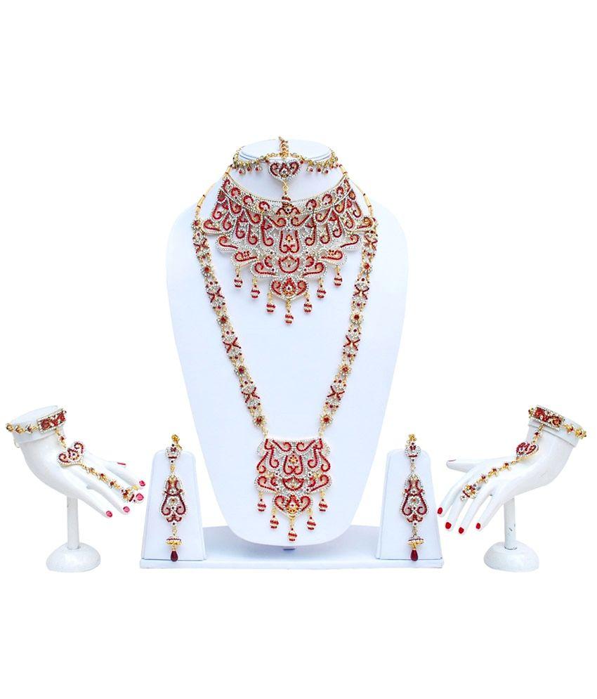 Lucky Jewellery Maroon Bridal Set