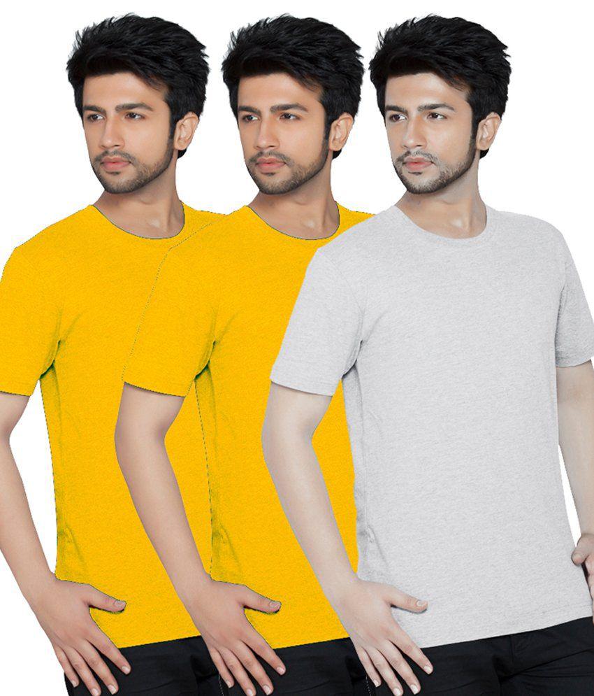 Texfit Men's Yellow, Yellow & Ecru Melange Round Neck - Pack Of 3