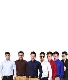 Blue Ocean Multi Cotton Blend Regular Casual Shirts - Combo Of 7