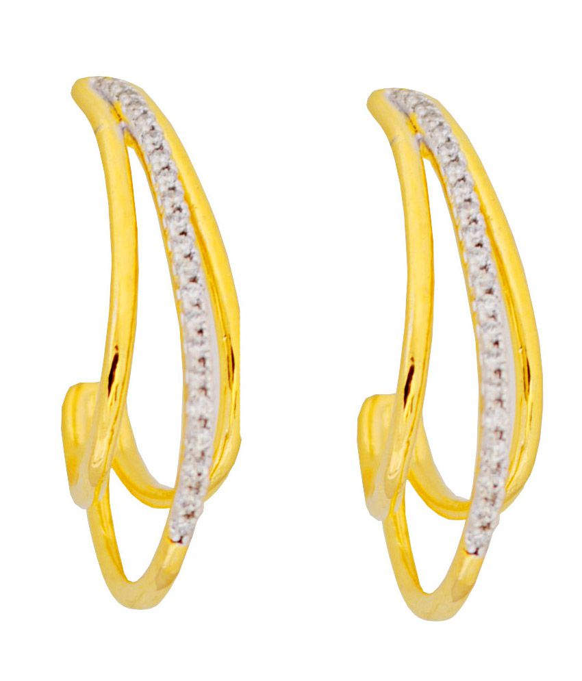 Affinity Lovely High Quality Cz Stones J Shaped Earrings Gold Plated