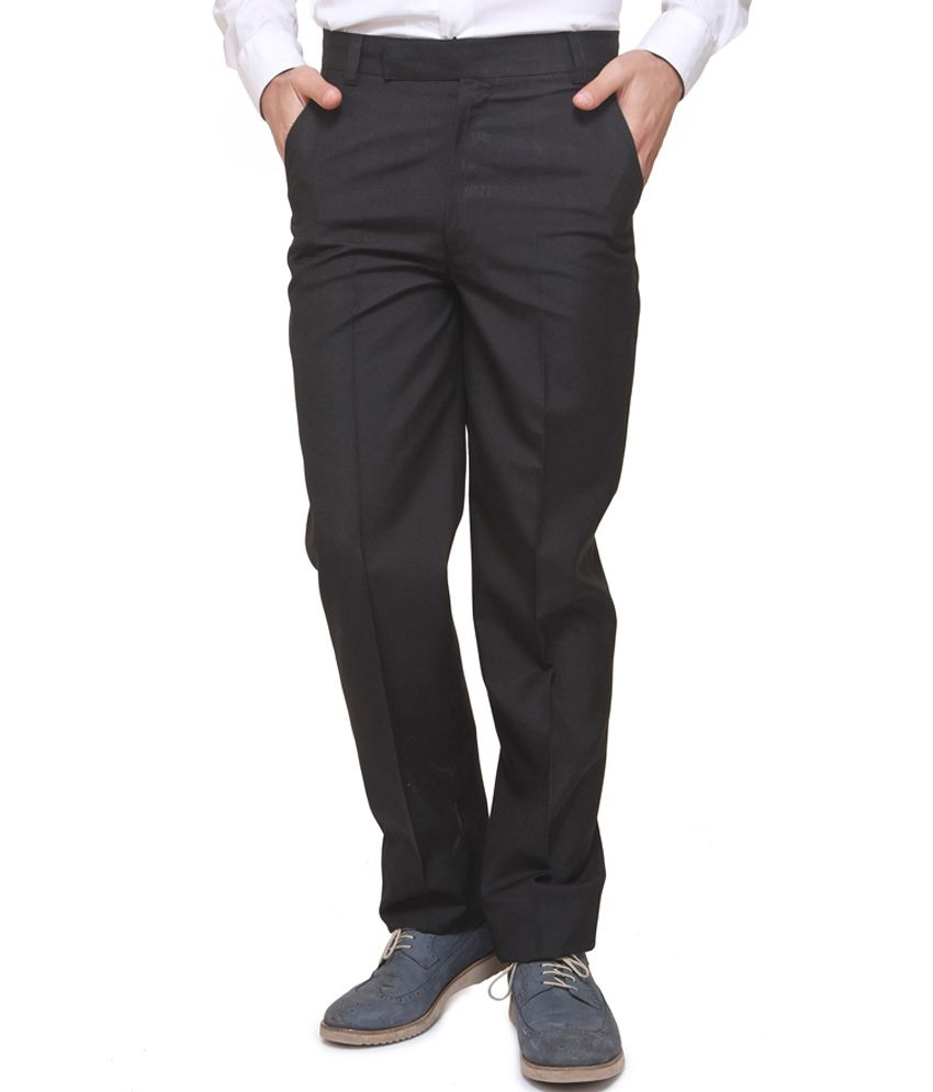 Benz Black Cotton Blend Formal Trouser
