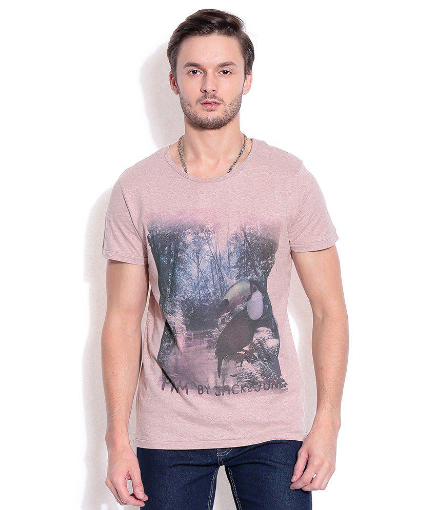 Jack & Jones Pink Cotton T-Shirt