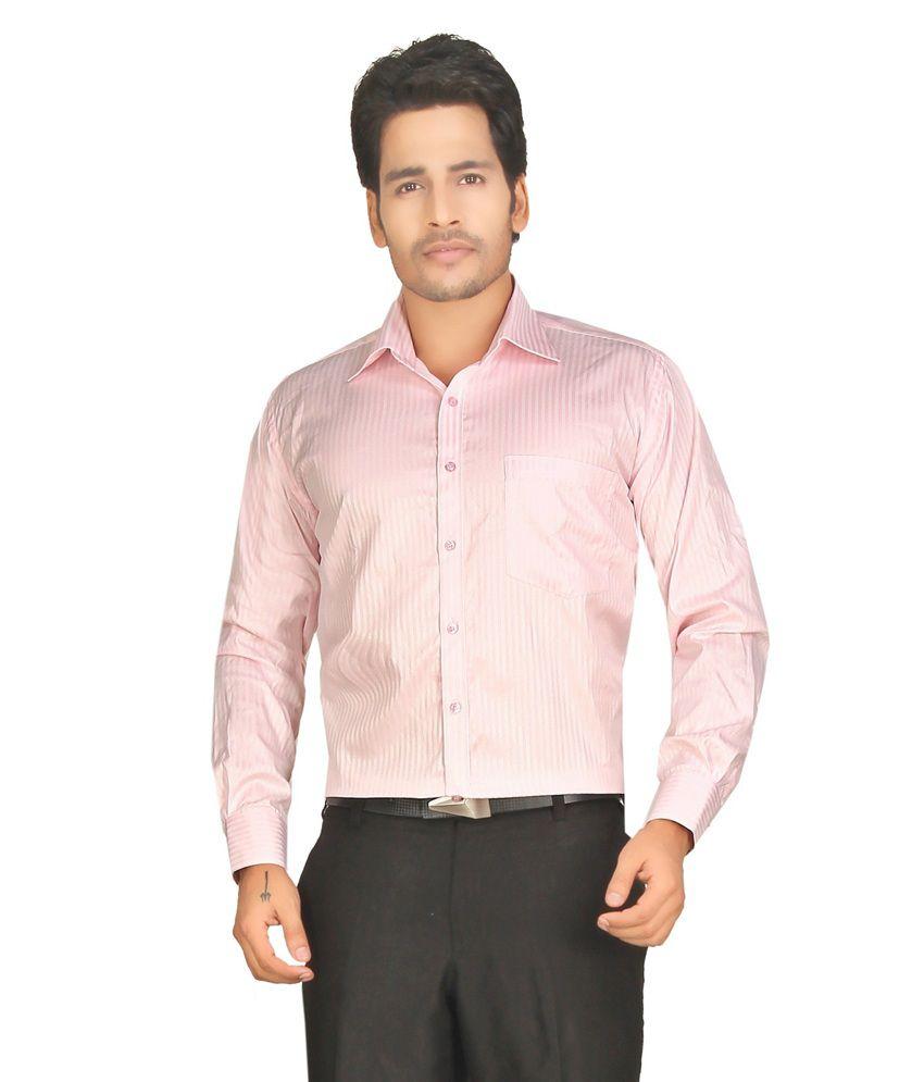 John morris smart baby pink stripes regular fit formal for Baby pink shirt for man