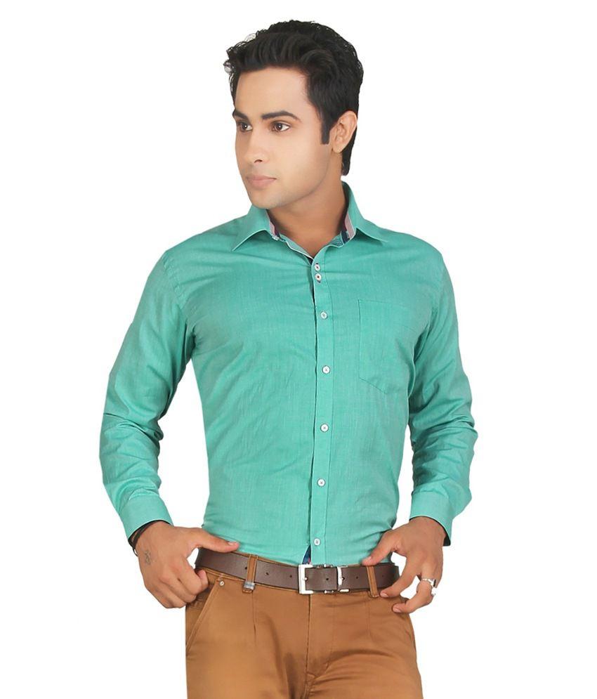 John Morris Smart Green Solid Slim Fit Semi Formal Full Sleeves Shirt For Men | Jm114659q1