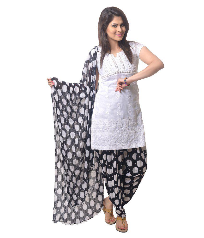 bbc0cb12393 Stri White And Black Cotton Printed Patiala Salwar and Dupatta Set Price in  India - Buy Stri White And Black Cotton Printed Patiala Salwar and Dupatta  Set ...