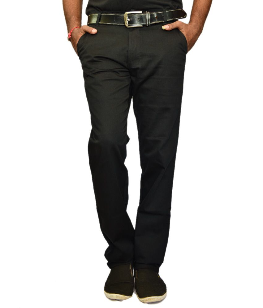 British Terminal Black Comfort Casuals Chinos