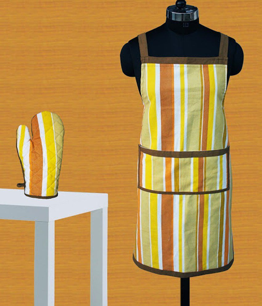 Dekor World Yellow Stripes Cotton 1 Apron And 1 Oven Glove