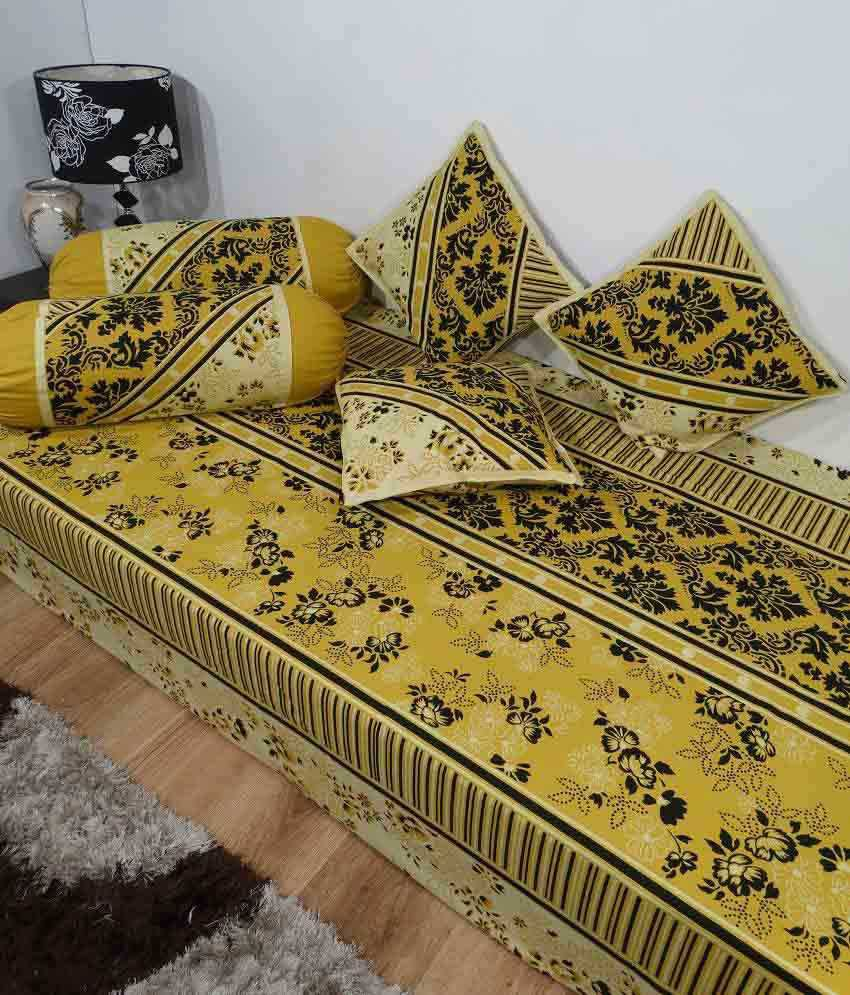Heritage beige floral cotton diwan set single bed sheet w for Double bed diwan set