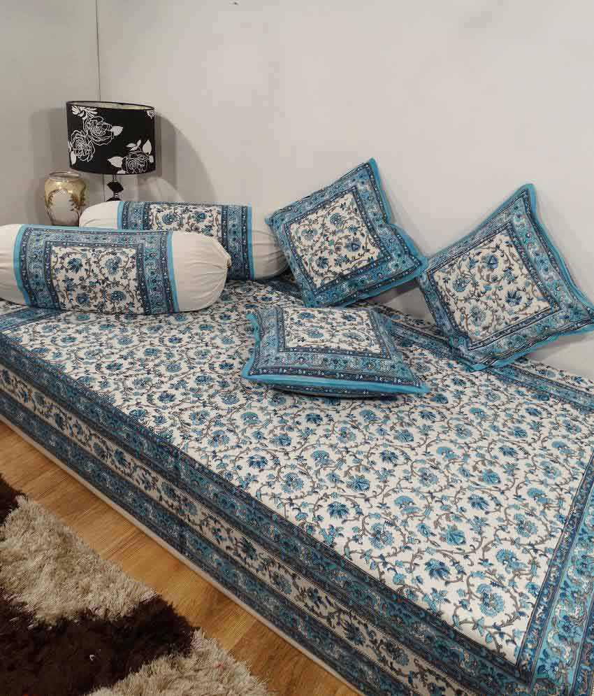 Heritage blue floral cotton diwan set single bed sheet w for Double bed diwan set
