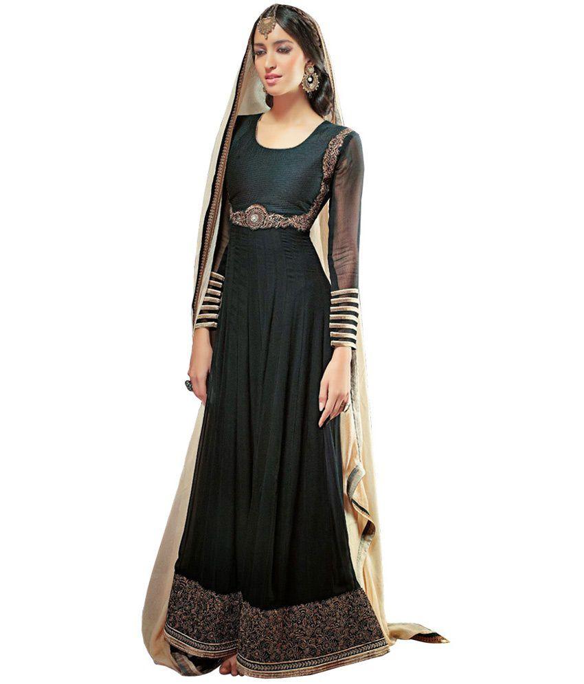 Jugniji Black Designer Anarkali Dress