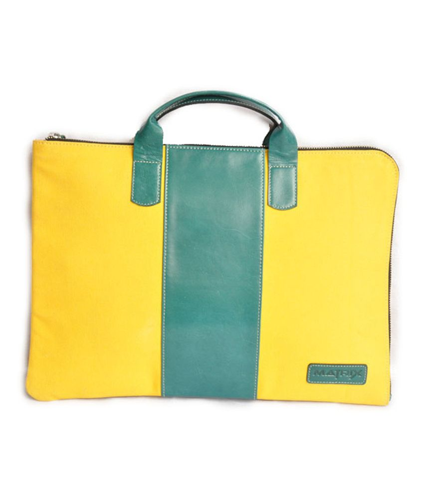 Matrix Yellow And Green Leather-canvas Laptop Case
