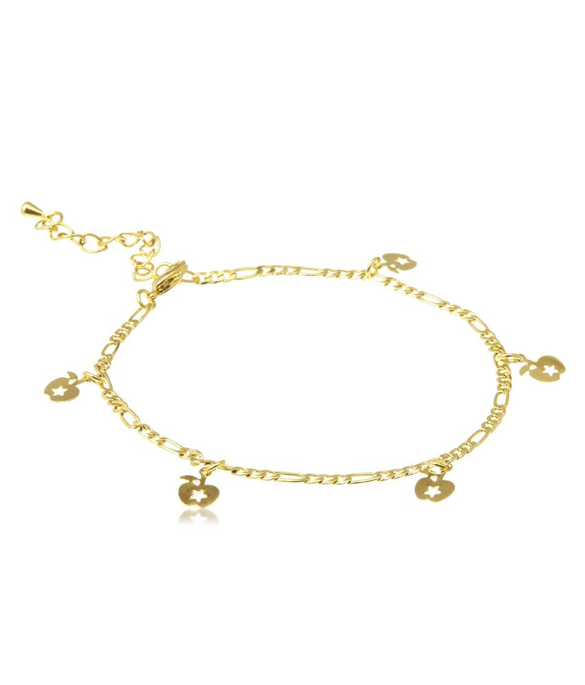 18 KT Gold Plated Anklets With Apple Charms by GB Jewellery