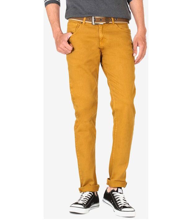 People Yellow Regular Jeans