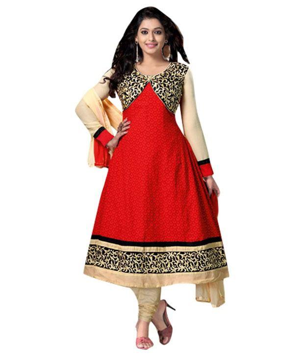 Seromba Red Semi-Stitched Anarkali