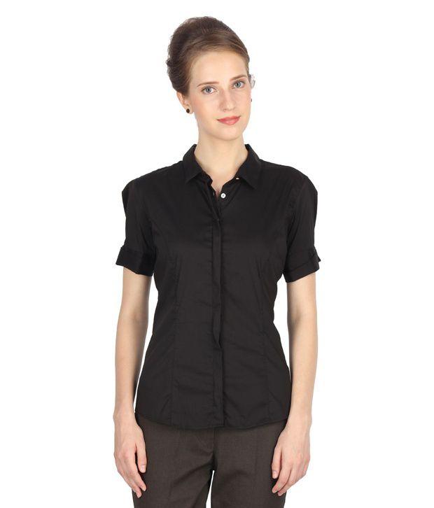 Van Heusen Black Solids Cotton Blend Regular Collar Shirts