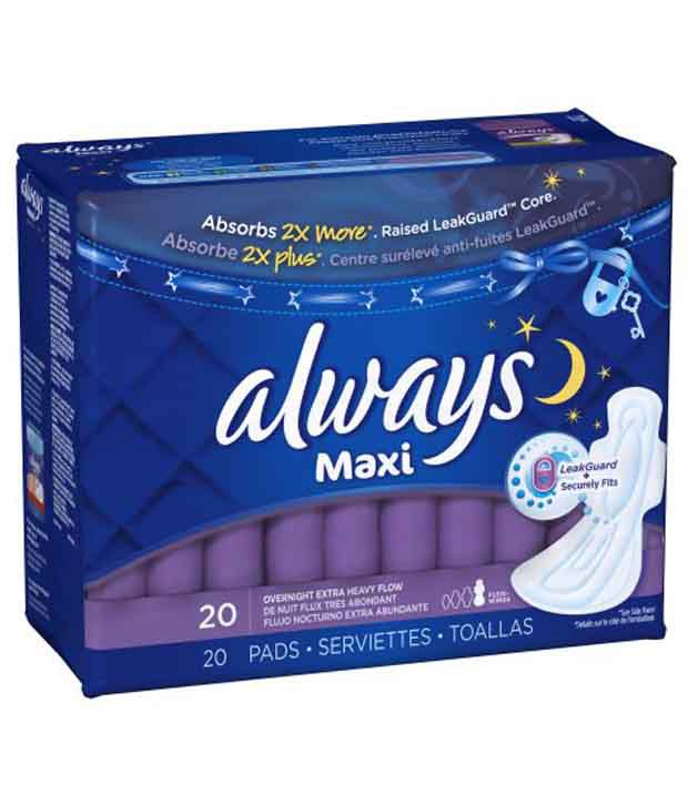 Always Maxi Overnight Extra Heavy Flow Pads With Wings Pack