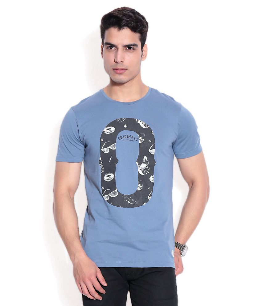 Jack & Jones Blue Cotton T-Shirt