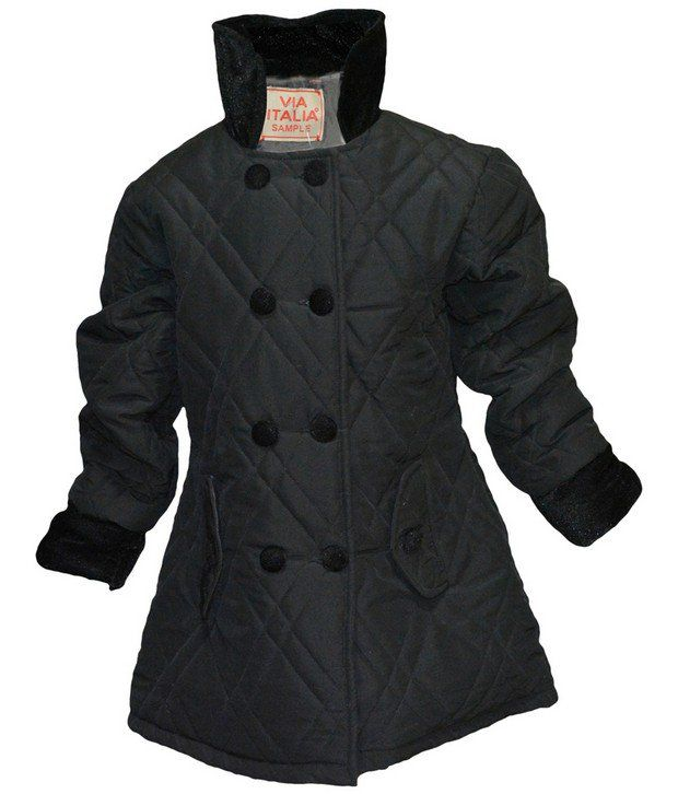 Via Italia Black Synthetic Padded Jackets For Kids