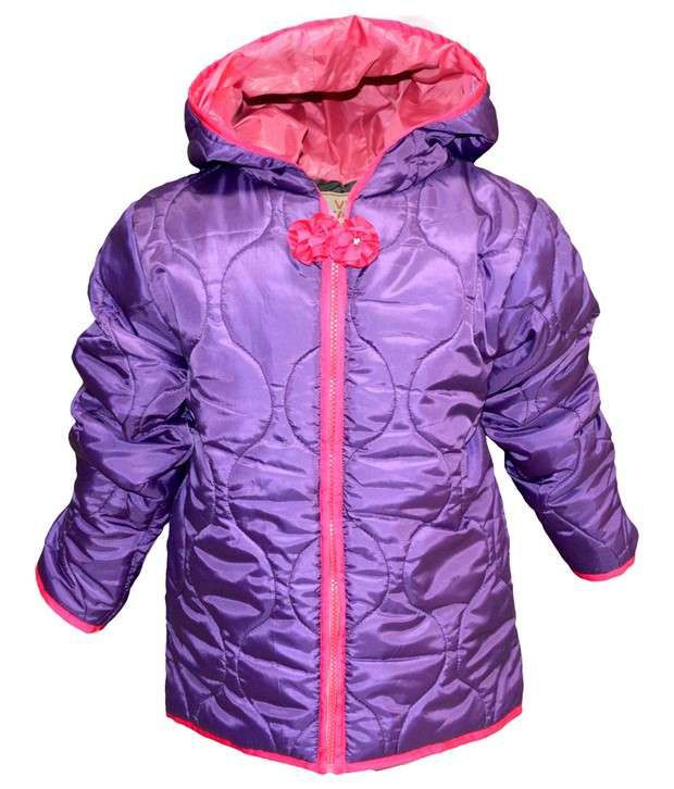 Via Italia Purple Synthetic Padded Jackets For Kids