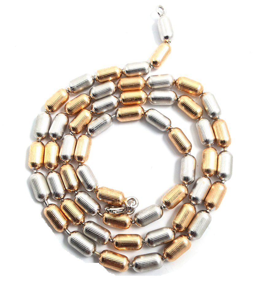 Ammvi Creations Metallic Saga Duo-tone Stainless Steel Alloy Beaded Necklace For Men