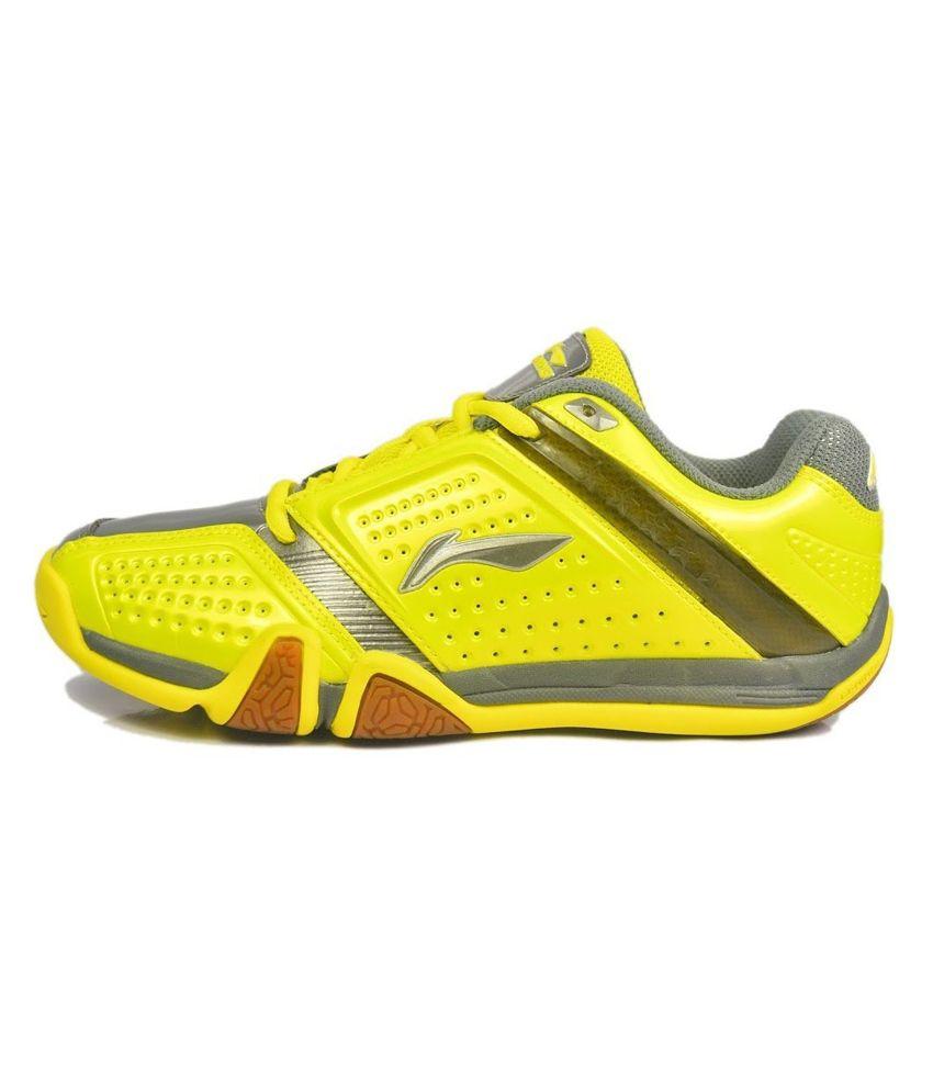 Li Ning Hero No 1 Badminton Gumsole Shoes Yellow Grey