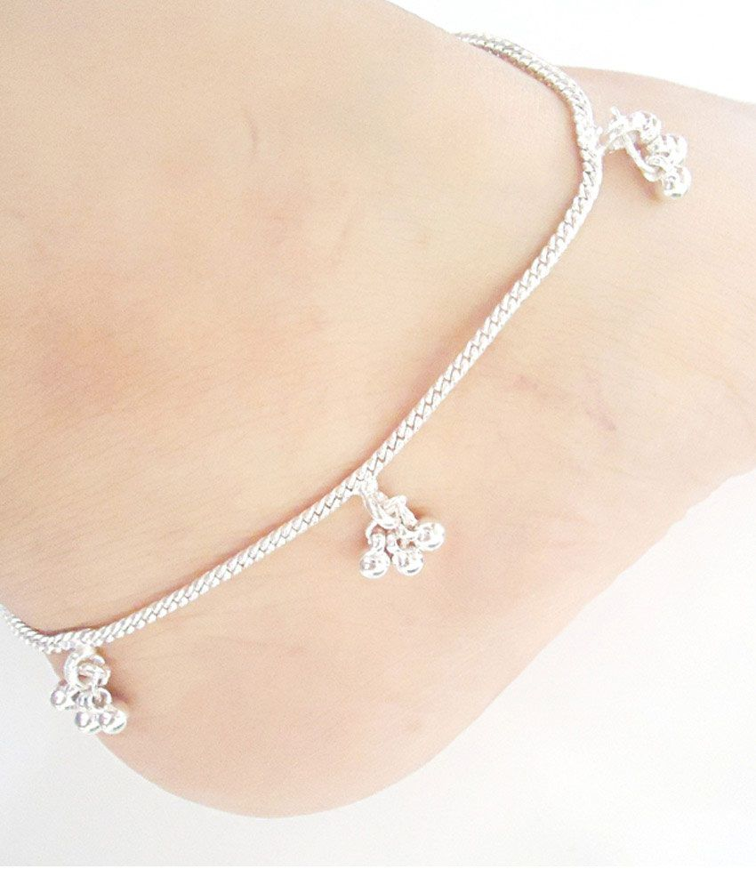 ankle childrens jingle s anklets silver bracelet anklet o solid real kids bells chain children