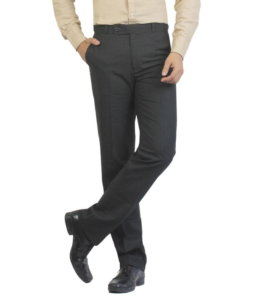 Vituda Blue Cotton Comfort Fit Trouser