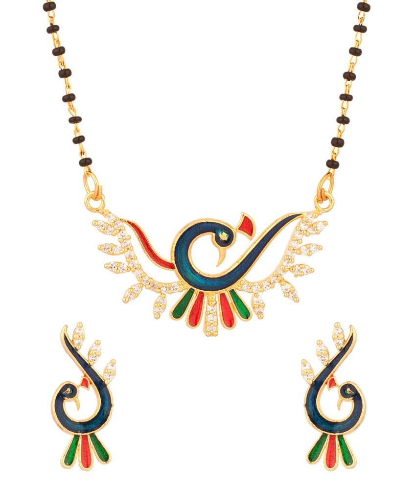 Voylla Elegant Single Chain Mangalsutra Set With Peacock Motif