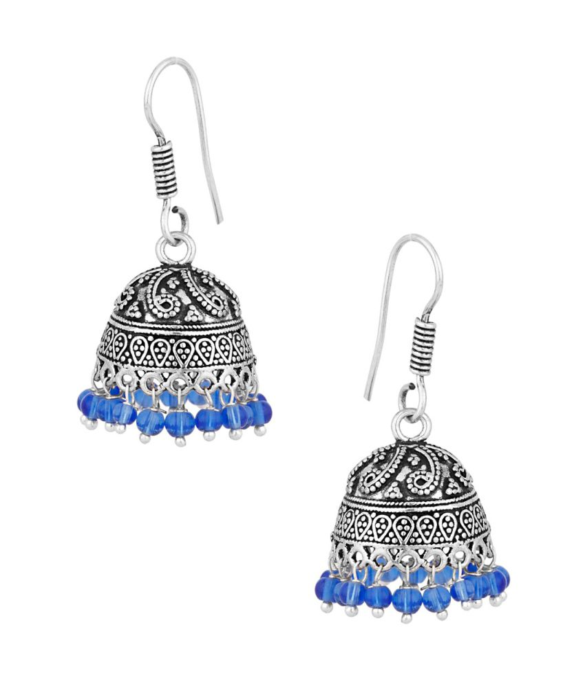 Voylla Exotic Pair Of Dome Shape Jhumki Earrings With Blue Color Beads