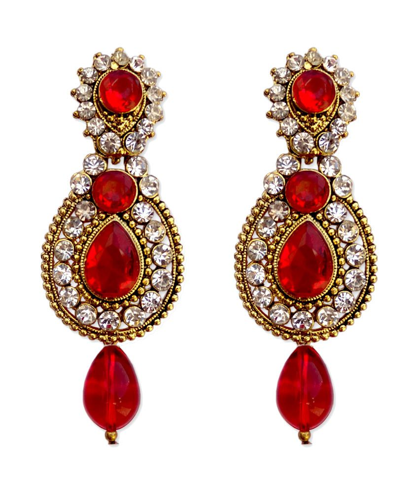 Hi Look Gorgeous Red Hanging Earrings