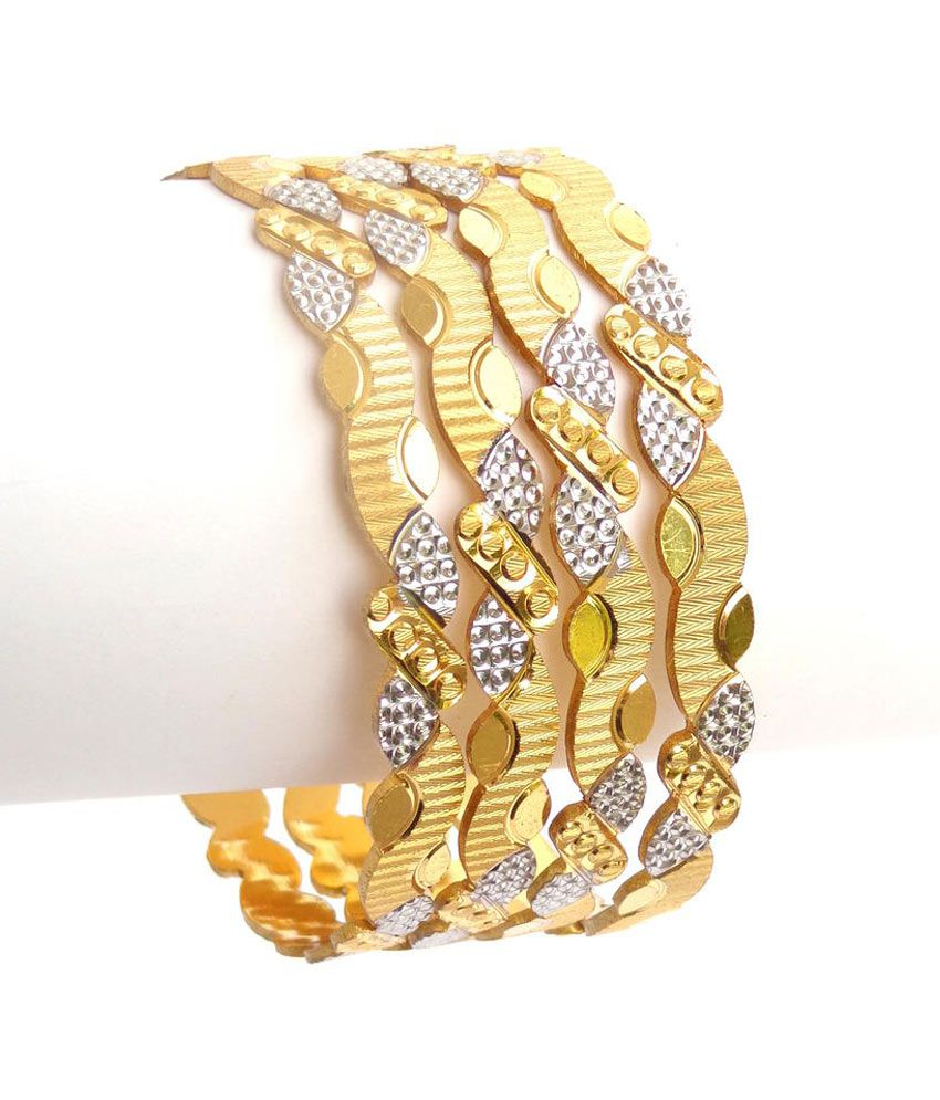 Nishugold Gold Forming Laser Cut C N C Bangles With White