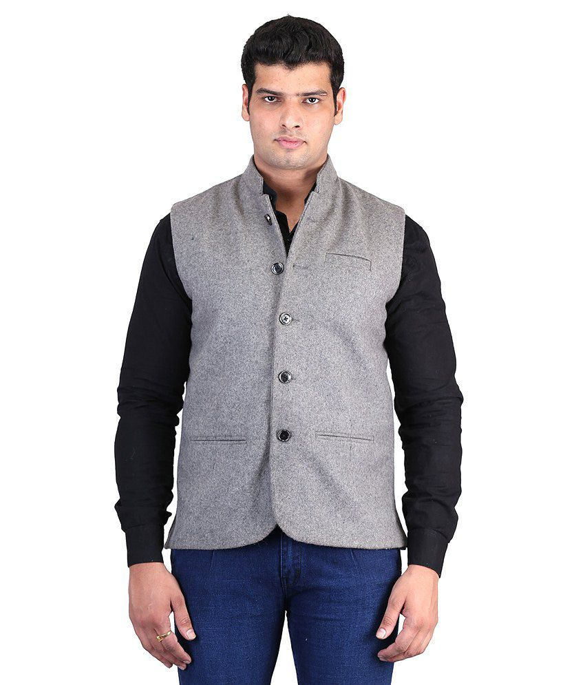 Asst Gray Woollen Formal Nehru Jacket
