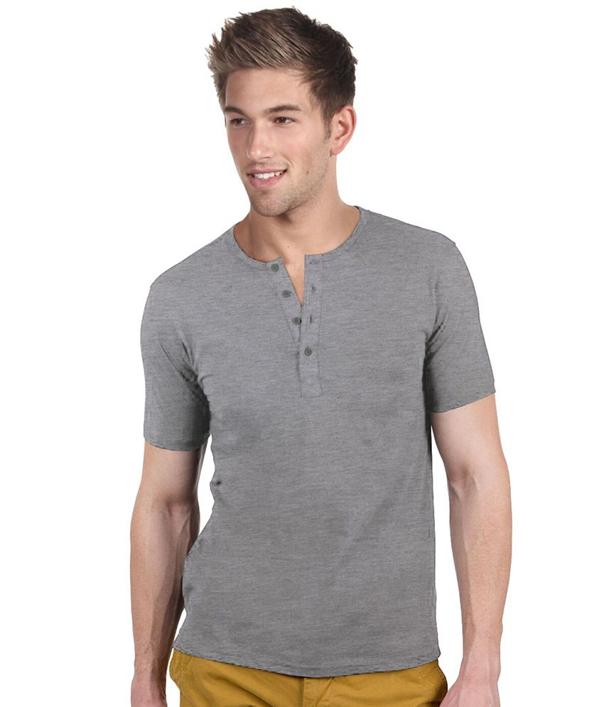 Blackburne Inc Gray Half Cotton Henley T-shirt