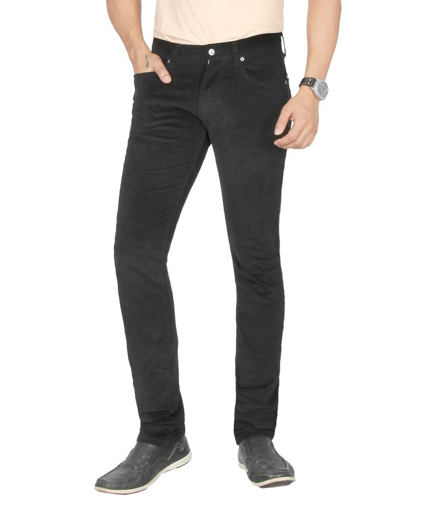 Dare Dashing Black Comfort Fit Mid Rise Corduroy Trousers For Men | Da1867