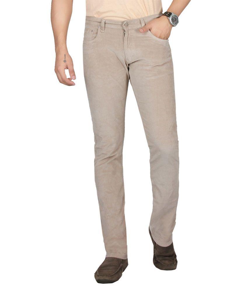 Dare Dashing Cream Comfort Fit Mid Rise Corduroy Trousers For Men   Da1865