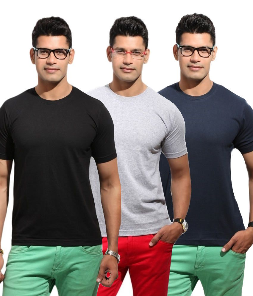 Shine Fashion Men's Round Neck T-shirts - Pack Of 3
