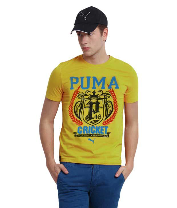 Puma Yellow Cotton Round Printed Men T-shirt