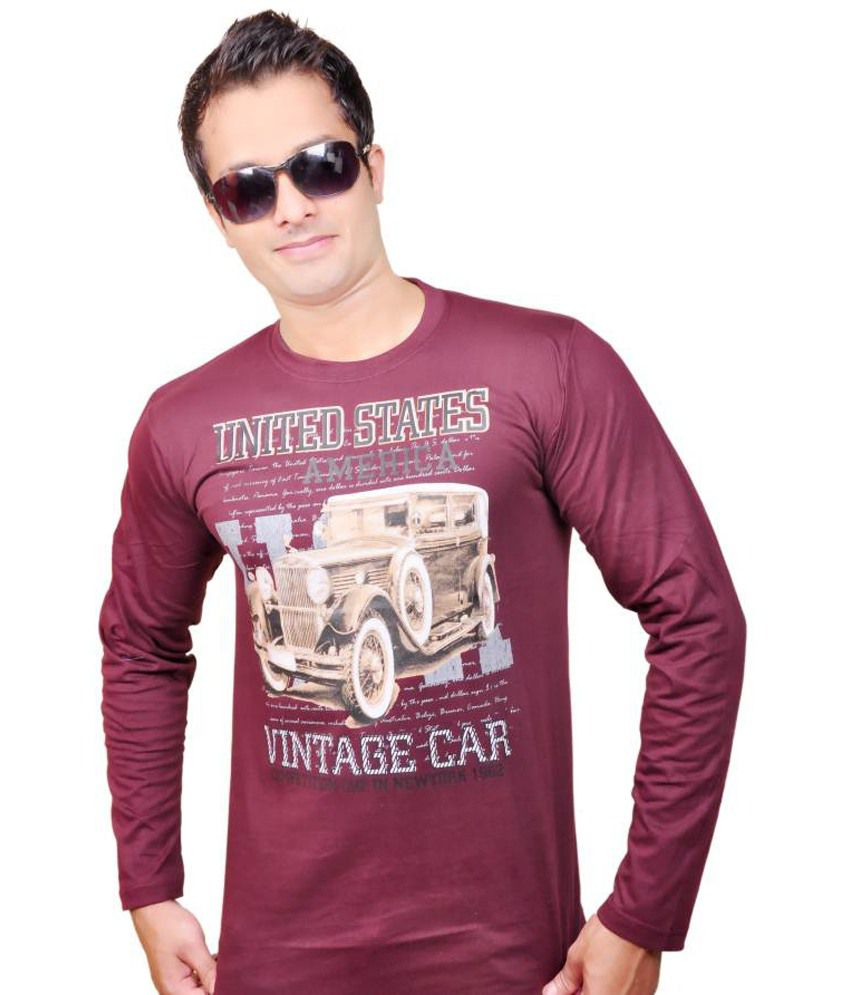 Zolo Red Line Cotton Dark Maroon Printed T-shirt